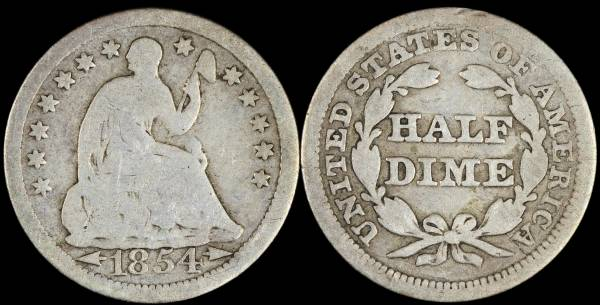 1854 Seated Liberty Half Dime with Arrows G4