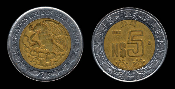 mexico 5 New pesos 1992