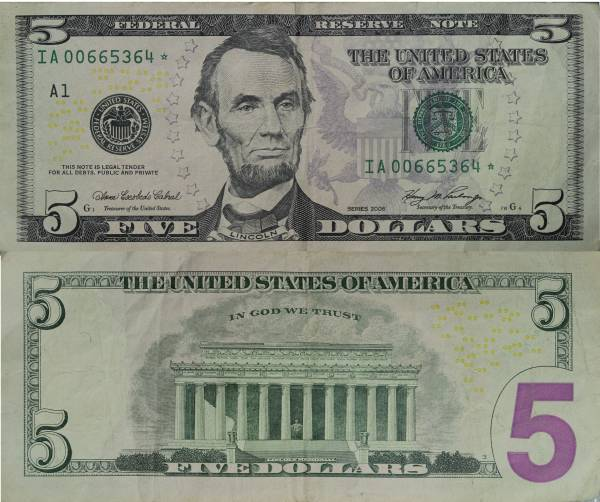5 Five Dollar Federal Reserve Star Note series 2006 IA00665364