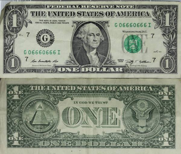 2009 One Dolar Federal Reserve Note Repeater G06660666I