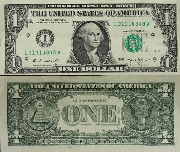 2013 One Dollar Federal Reserve Note Repeater I31314848A