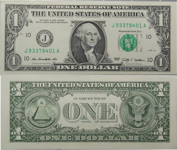 Federal Reserve Note 1 Dollar Series 2009 Crisp Uncirculated J93378401A