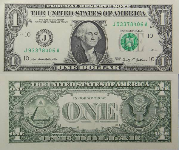 Federal Reserve Bank Note One 1 Dollar Series 2009 J93378406A