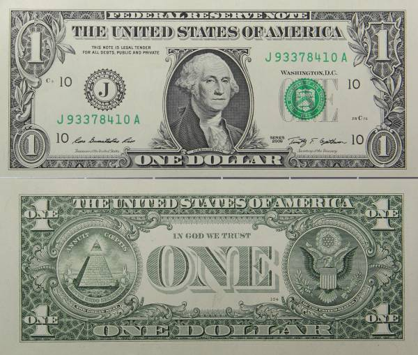 Federal Reserve Bank Note One Dollar Series 2009 J93378410A