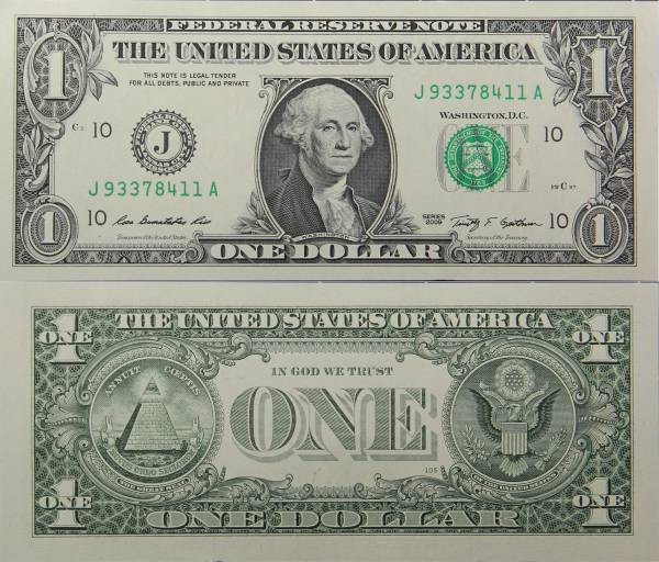 Federal Reserve Bank Note 1 Dollar Series 2009 J93378411A