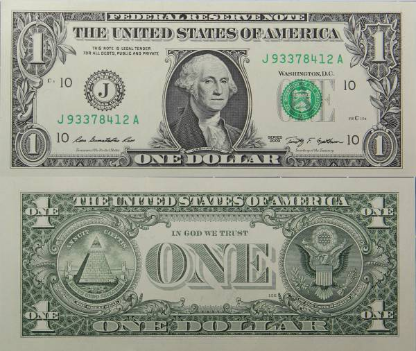 Federal Reserve Bank Note 1 Dollar Series 2009 J93378412A