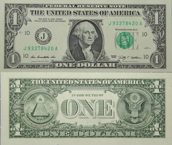 Federal Reserve Bank Note One 1 Dollar Series 2009 J93378420A