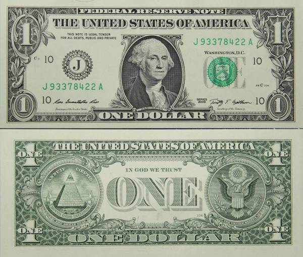 Federal Reserve Bank Note One 1 Dollar Series 2009 J93378422A