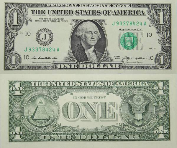 Federal Reserve Bank Note One 1 Dollar Series 2009 J93378424A