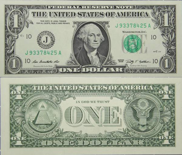 Federal Reserve Bank Note One 1 Dollar Series 2009 J93378425A