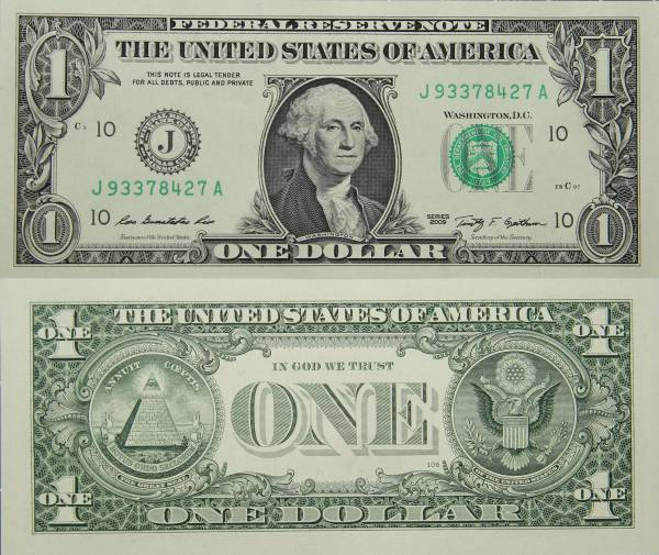 Federal Reserve Bank Note One 1 Dollar Series 2009 J93378427A