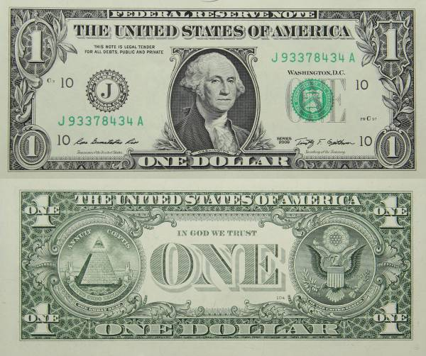 Federal Reserve Bank Note One 1 Dollar Series 2009 J93378434A