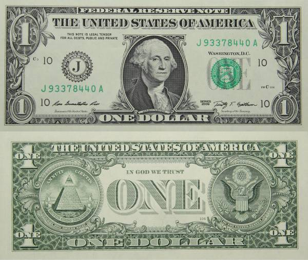 Federal Reserve Bank Note One 1 Dollar Series 2009 J93378440A