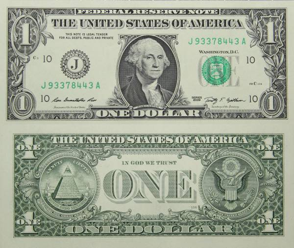 Federal Reserve Bank Note One 1 Dollar Series 2009 J93378443A
