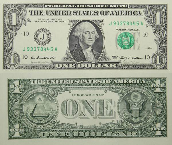 Federal Reserve Bank Note One 1 Dollar Series 2009 J93378445A