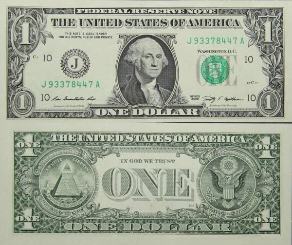 Federal Reserve Bank Note One 1 Dollar Series 2009 J93378447A