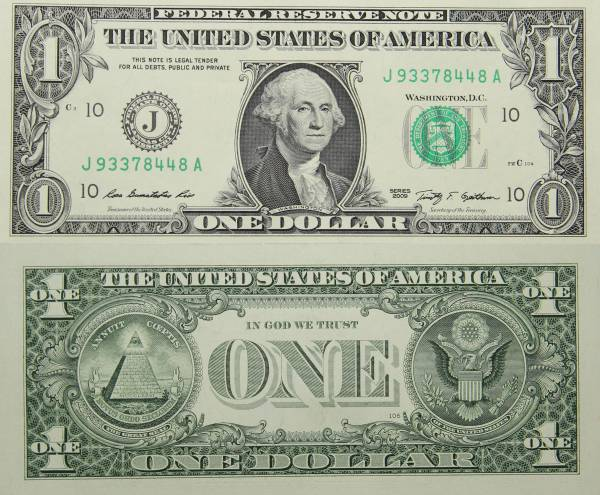 Federal Reserve Bank Note One 1 Dollar Series 2009 J93378448A
