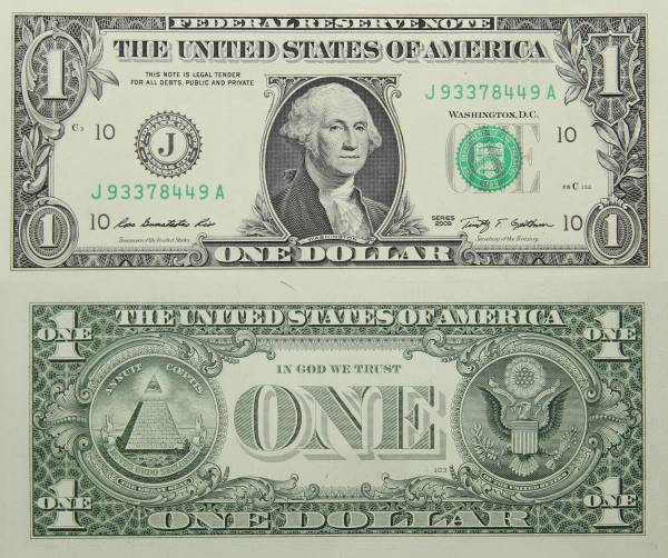 Federal Reserve Bank Note One 1 Dollar Series 2009 J93378449A