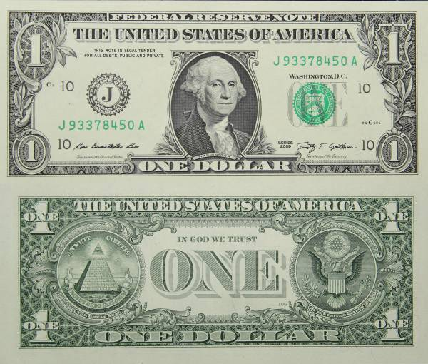 Federal Reserve Bank Note One 1 Dollar Series 2009 J93378450A