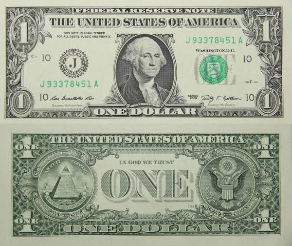 Federal Reserve Bank Note One 1 Dollar Series 2009 J93378451A
