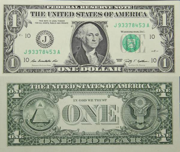 Federal Reserve Bank Note One 1 Dollar Series 2009 J93378453A