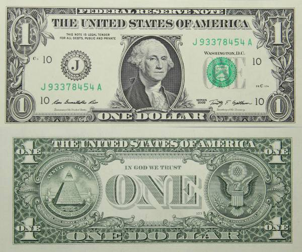 Federal Reserve Bank Note One 1 Dollar Series 2009 J93378454A