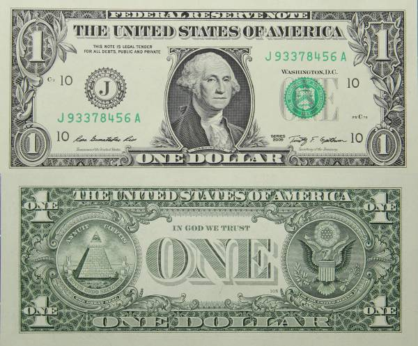 Federal Reserve Bank Note One 1 Dollar Series 2009 J93378456A