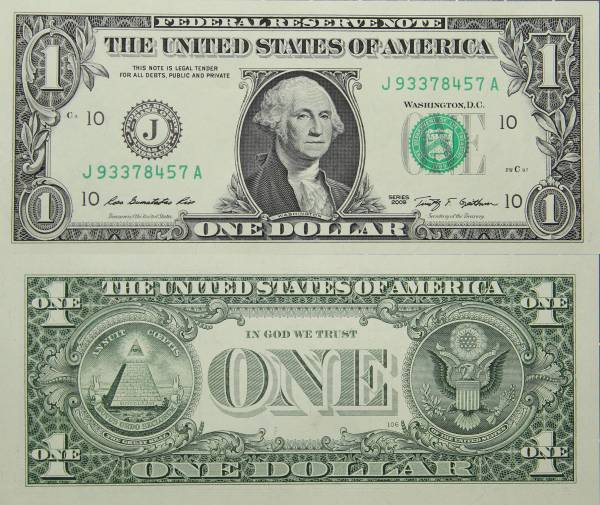Federal Reserve Bank Note One 1 Dollar Series 2009 J93378457A
