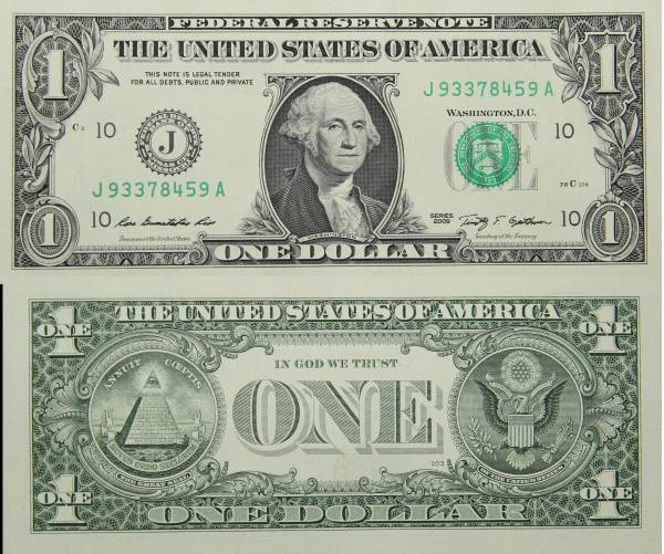 Federal Reserve Bank Note One 1 Dollar Series 2009 J93378459A
