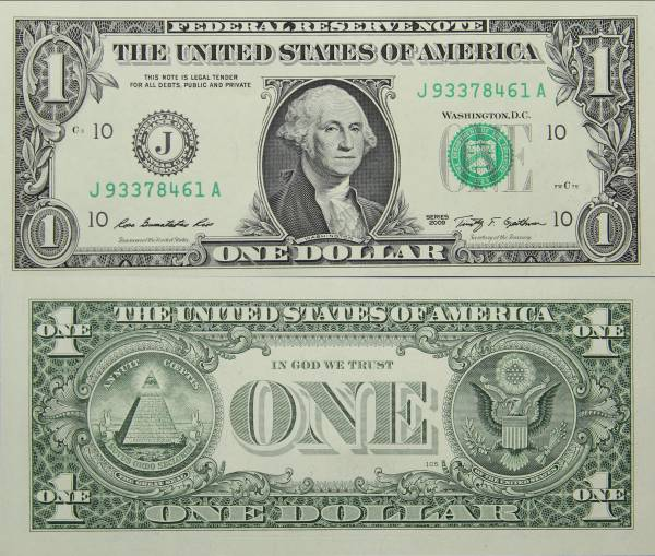 Federal Reserve Bank Note One 1 Dollar Series 2009 J93378461A