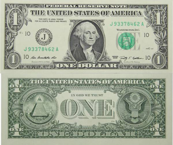 Federal Reserve Bank Note One 1 Dollar Series 2009 J93378462A