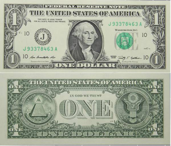 Federal Reserve Bank Note One 1 Dollar Series 2009 J93378463A