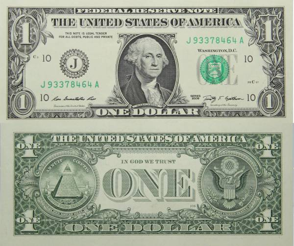 Federal Reserve Bank Note One 1 Dollar Series 2009 J93378464A