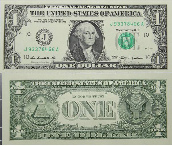 Federal Reserve Bank Note One 1 Dollar Series 2009 J93378466A