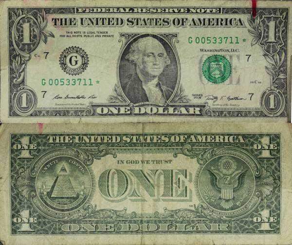 G00533711 Federal Reserve Star Note 1 one dollar series 2009