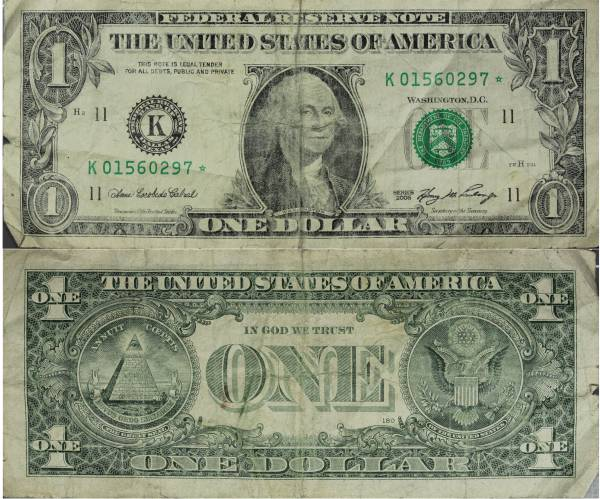 K01560297 Federal Reserve Star Note 1 one dollar series 2006