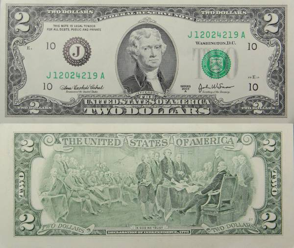 Federal Reserve Bank Note One 2 Dollar Series 2009 J12024219A