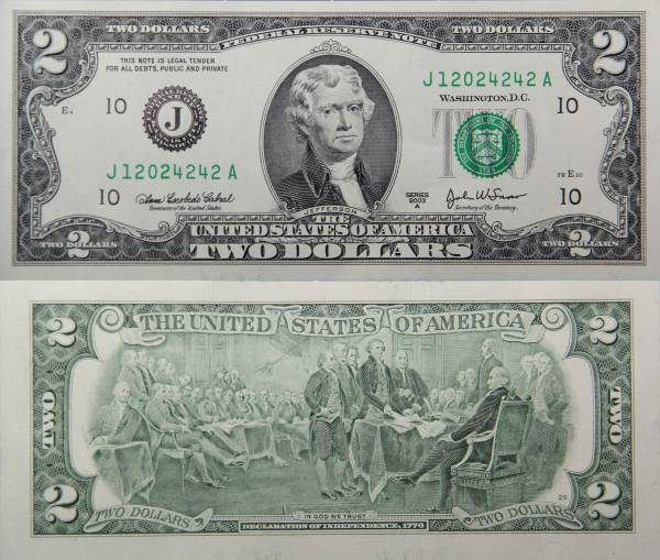 Federal Reserve Bank Note One 2 Dollar Series 2009 J12024242A