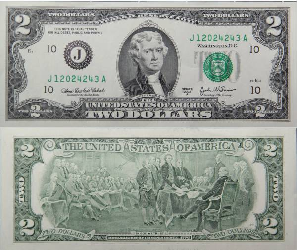 Federal Reserve Note 2 Two Dollar Series 2009A Crisp Uncirculated J12024243