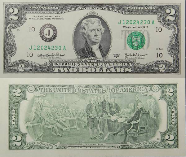 Federal Reserve Two 2 Dollar Bank Note Series 2009 J12024230A
