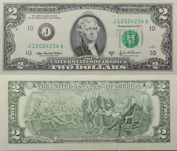 Federal Reserve Two 2 Dollar Bank Note Series 2009 J120242334A