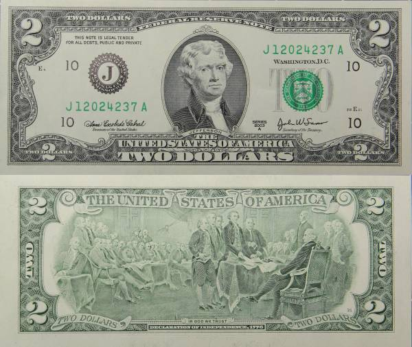 Federal Reserve Bank Note Two 2 Dollar Series 2009 J12024237A