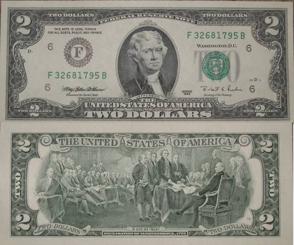 Two Dollar Bill series 1995 Altanta CU Crisp Uncirculated