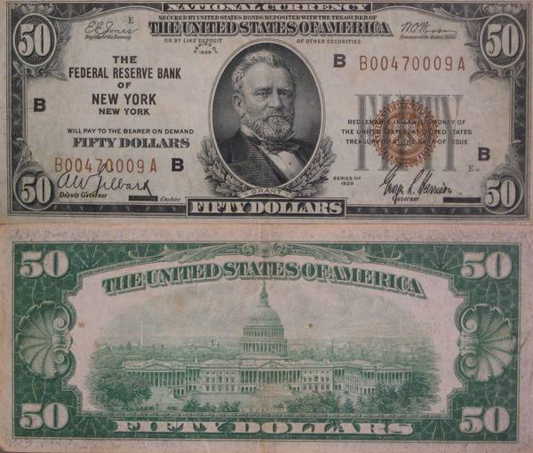 50 Dollar Notes\1929 National Currency Federal Reserve Bank of New York 50