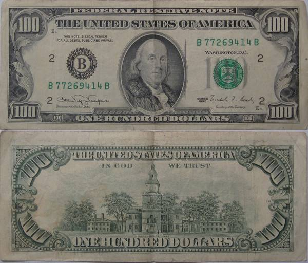 100 Dollar Bill Series 1990