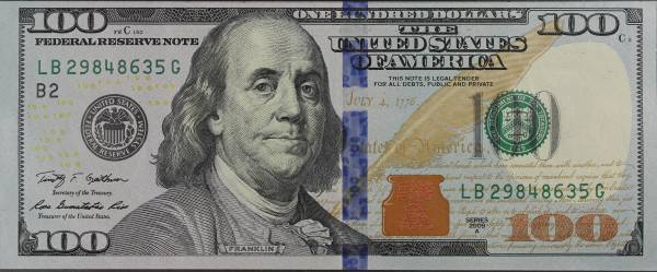 100 Dollar Bill Series 2009A LB29848635G obverse
