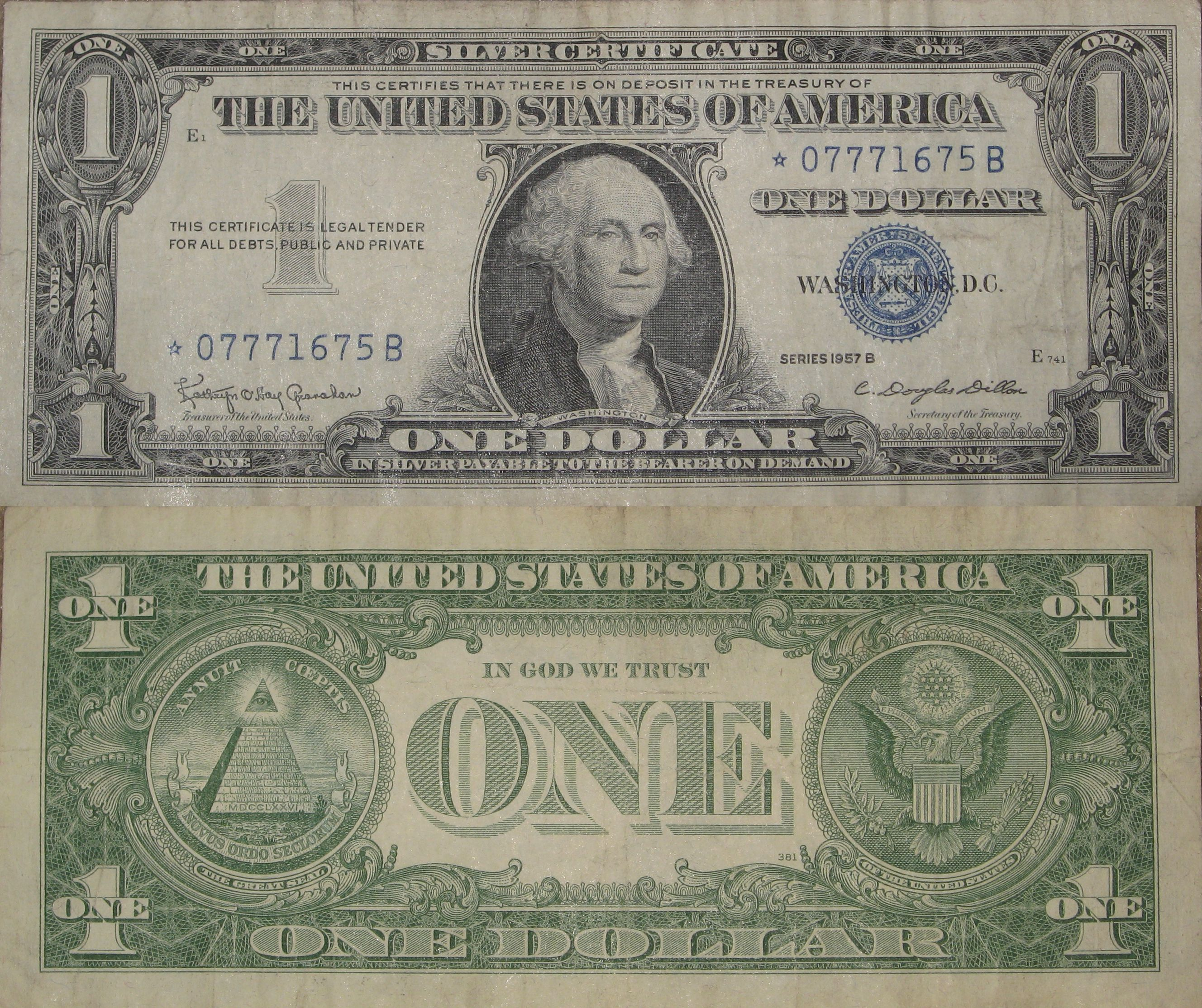 One Dollar Bill Silver Certificate Series 1957 B Star Note My Coin