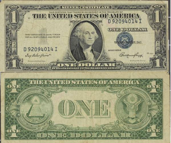 1935 E Silver Certificate One Dollar D92094014I circulated