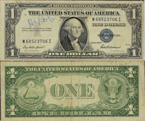 1935 F Silver Certificate One Dollar W685203706I circulated