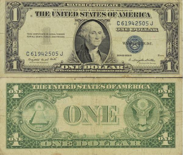 1935 G Silver Certificate One Dollar C61942505J
